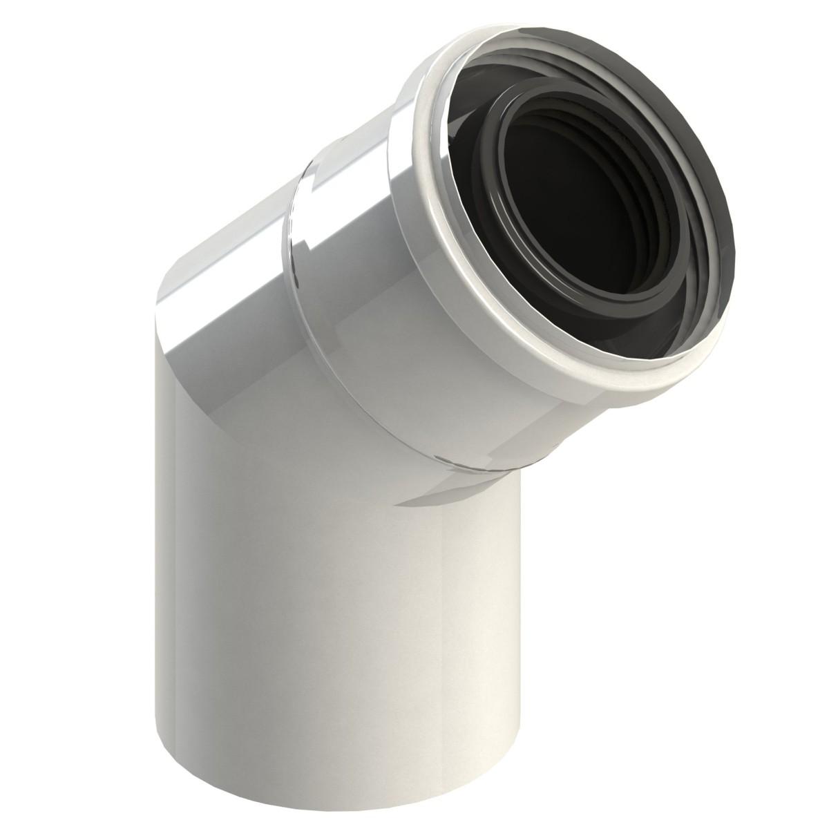 Kolano spalinowe 45° dwuścienne białe, kolano kominowe