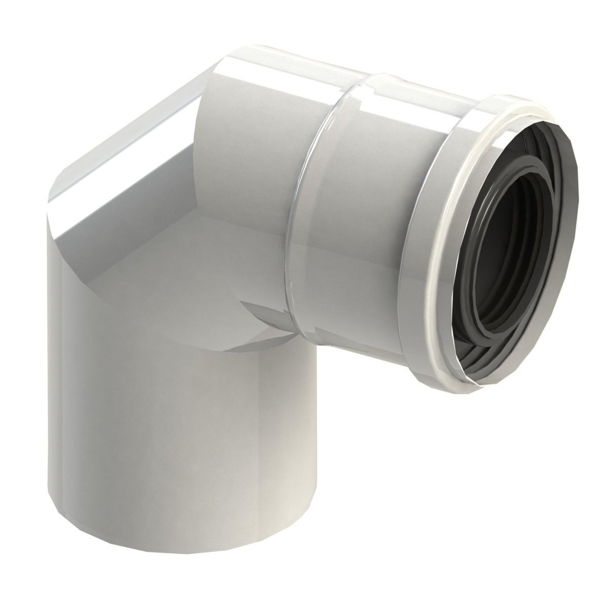Kolano spalinowe 87° dwuścienne białe, kolano kominowe