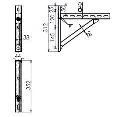 Wspornik płyt fundamentowych TYP1 (para), odległość od ściany do 15,5 cm