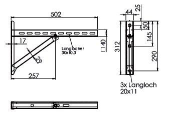 Wspornik płyt fundamentowych TYP2 (para), odległość od ściany do 25,5 cm