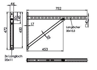 Wspornik płyt fundamentowych TYP3 (para), odległość od ściany do 55,5 cm