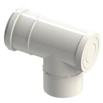 Trójnik spalinowy 87°dwuścienny rewizyjny biały