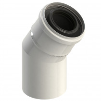Kolano spalinowe 30° dwuścienne białe, kolano kominowe